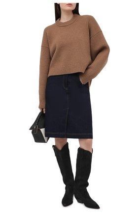 Женская джинсовая юбка DOLCE & GABBANA синего цвета, арт. F4BZDD/G899X   Фото 2 (Длина Ж (юбки, платья, шорты): До колена; Стили: Гранж; Кросс-КТ: Деним; Материал внешний: Хлопок; Женское Кросс-КТ: Юбка-одежда)