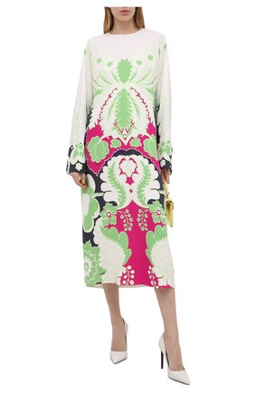 Женское шелковое платье VALENTINO фуксия цвета, арт. VB3VAVC067H | Фото 2