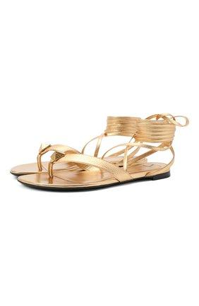 Женские кожаные сандалии upstud VALENTINO золотого цвета, арт. VW2S0BJ7/XYF   Фото 1