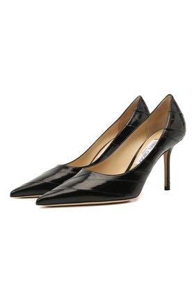 Женские кожаные туфли love 85 JIMMY CHOO черного цвета, арт. L0VE 85/ZER | Фото 1 (Каблук тип: Шпилька; Материал внутренний: Натуральная кожа; Каблук высота: Высокий; Подошва: Плоская)