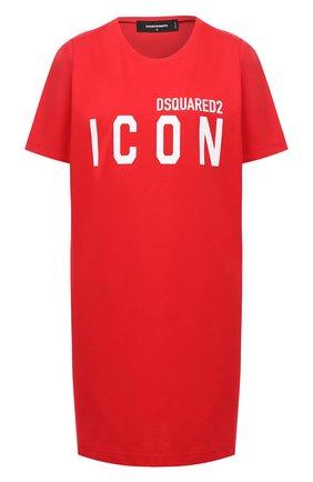 Женское хлопковое платье DSQUARED2 красного цвета, арт. S80CT0006/S23009 | Фото 1