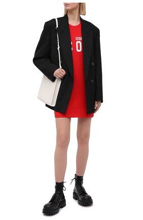 Женское хлопковое платье DSQUARED2 красного цвета, арт. S80CT0006/S23009 | Фото 2