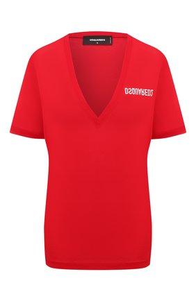 Женская хлопковая футболка DSQUARED2 красного цвета, арт. S75GD0157/S23848 | Фото 1