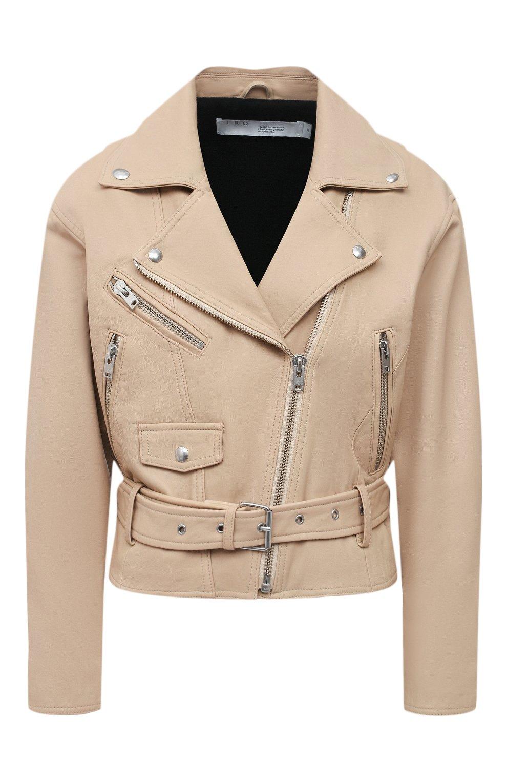 Женская кожаная куртка IRO бежевого цвета, арт. WP09DISTHEN   Фото 1