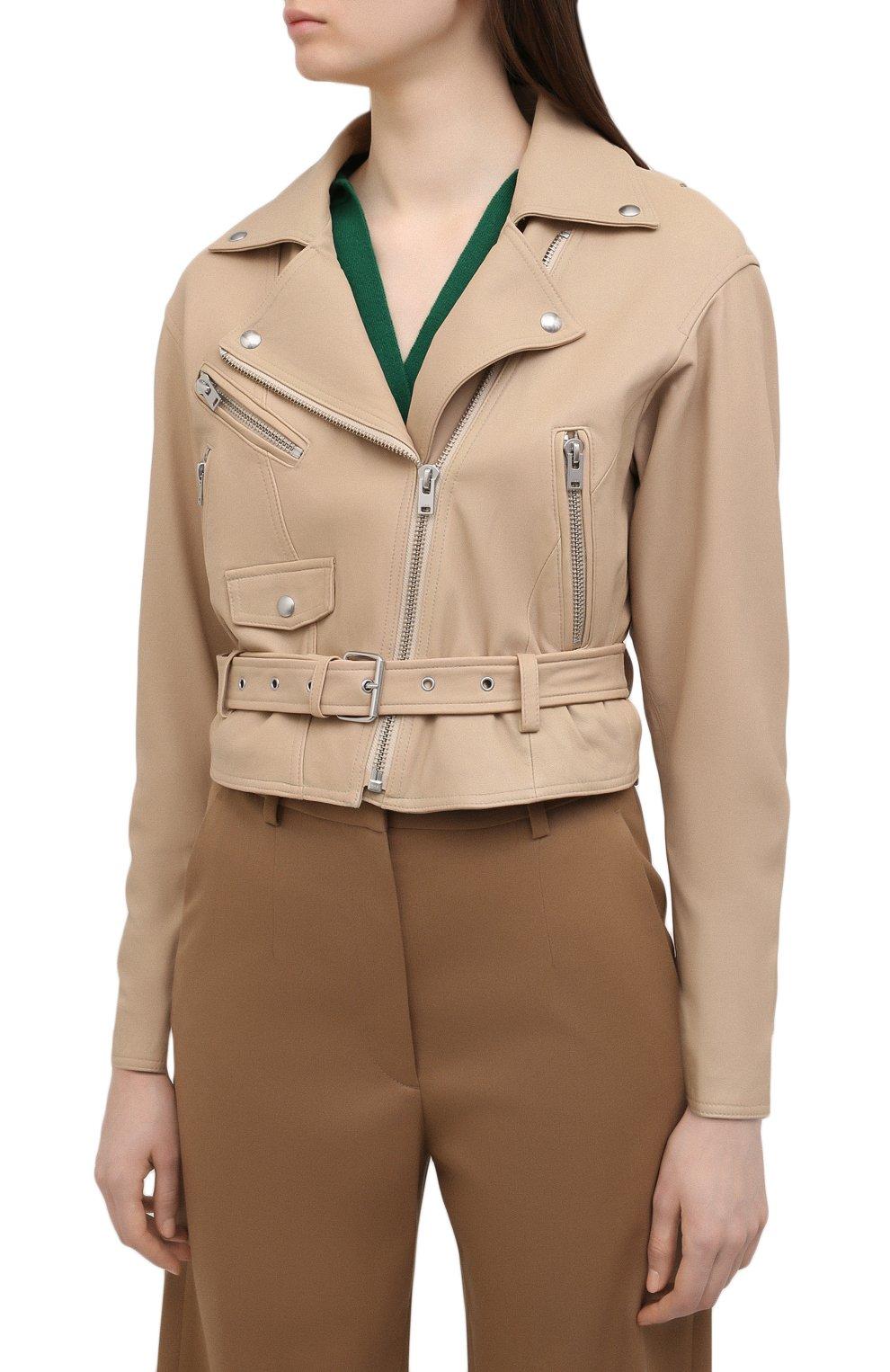 Женская кожаная куртка IRO бежевого цвета, арт. WP09DISTHEN   Фото 3