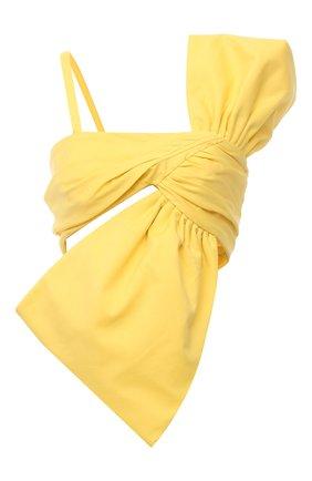 Женский хлопковый топ GIUSEPPE DI MORABITO желтого цвета, арт. SS21103T0-126 | Фото 1