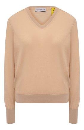 Женский кашемировый пуловер MONCLER бежевого цвета, арт. G1-094-9D701-10-V9208 | Фото 1