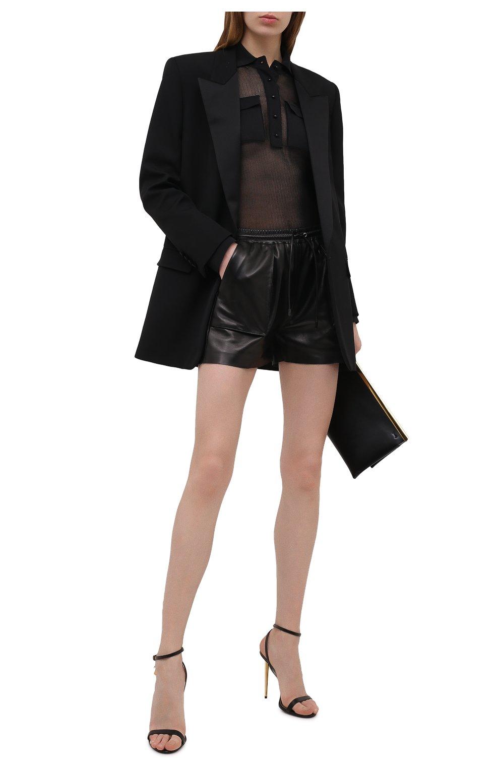Женские кожаные шорты TOM FORD черного цвета, арт. SHL007-LEX228 | Фото 2