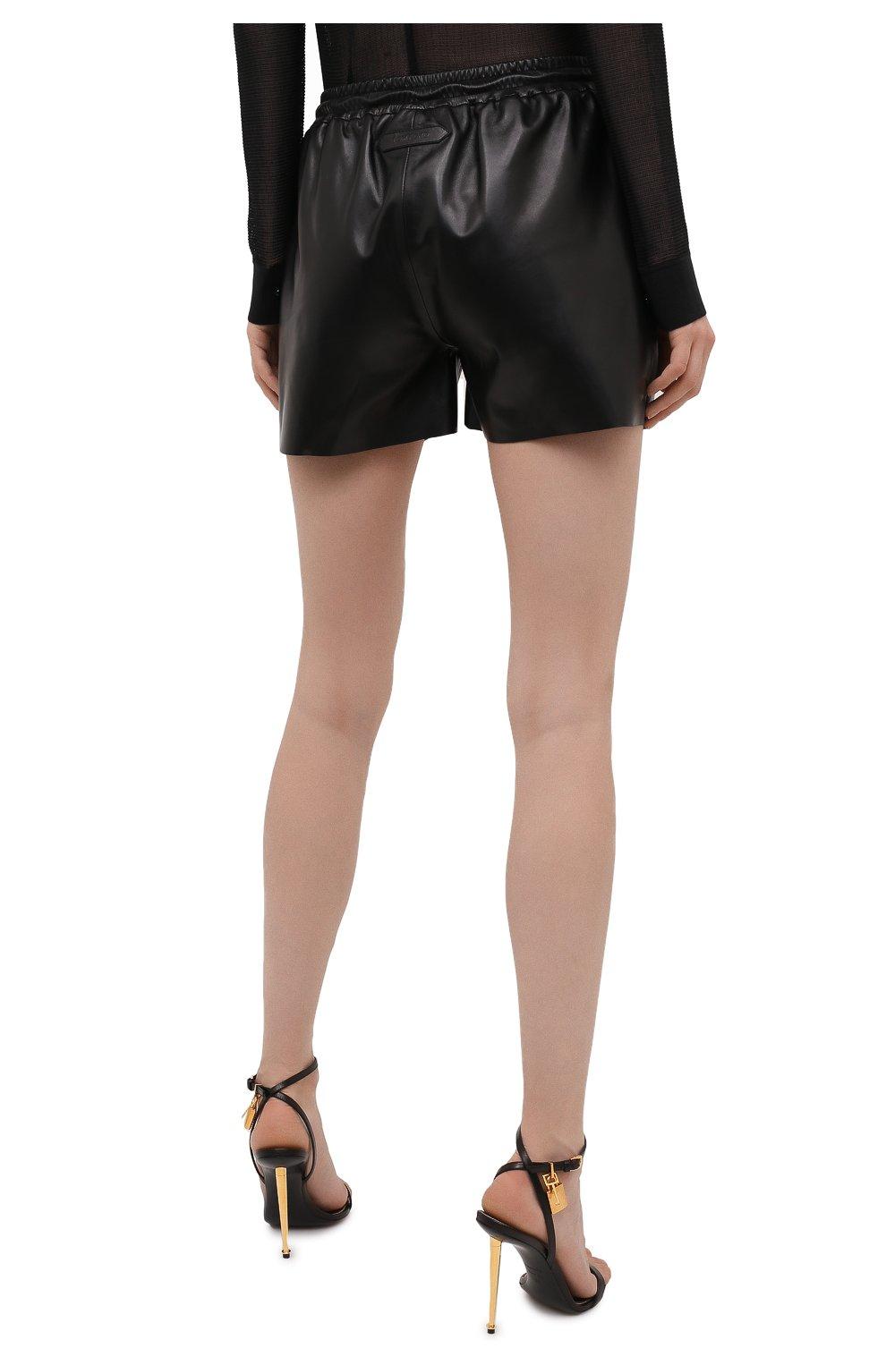 Женские кожаные шорты TOM FORD черного цвета, арт. SHL007-LEX228 | Фото 4