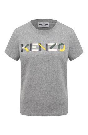 Женская хлопковая футболка KENZO серого цвета, арт. FB52TS8404SA | Фото 1