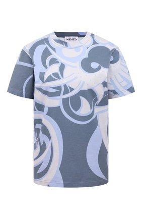 Женская хлопковая футболка KENZO голубого цвета, арт. FB52TS6424SK | Фото 1