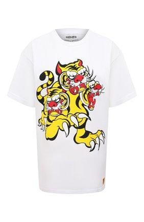 Женская хлопковая футболка KENZO белого цвета, арт. FB52TS6414SJ | Фото 1 (Женское Кросс-КТ: Футболка-одежда; Материал внешний: Хлопок; Длина (для топов): Стандартные; Принт: С принтом; Рукава: Короткие; Стили: Спорт-шик)