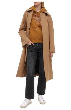 Женский хлопковое худи KENZO коричневого цвета, арт. FB52SW7824XG   Фото 2 (Материал внешний: Хлопок; Длина (для топов): Стандартные; Стили: Спорт-шик; Рукава: Длинные; Женское Кросс-КТ: Худи-одежда)