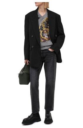 Женский хлопковый свитшот KENZO серого цвета, арт. FB52SW6194M0 | Фото 2
