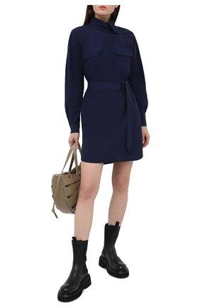 Женское хлопковое платье KENZO синего цвета, арт. FB52R00331LA | Фото 2