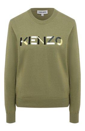 Женский хлопковый пуловер KENZO хаки цвета, арт. FB52PU5413LA | Фото 1 (Материал внешний: Хлопок; Женское Кросс-КТ: Пуловер-одежда; Стили: Кэжуэл; Длина (для топов): Стандартные; Рукава: Длинные)