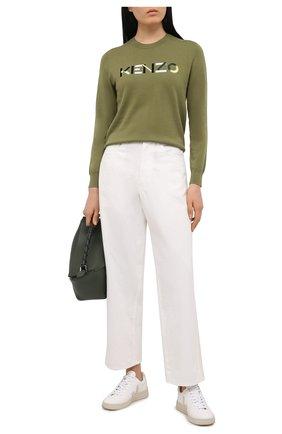 Женский хлопковый пуловер KENZO хаки цвета, арт. FB52PU5413LA | Фото 2 (Материал внешний: Хлопок; Женское Кросс-КТ: Пуловер-одежда; Стили: Кэжуэл; Длина (для топов): Стандартные; Рукава: Длинные)