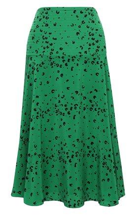 Женская шелковая юбка KENZO зеленого цвета, арт. FB52JU155521 | Фото 1 (Длина Ж (юбки, платья, шорты): Миди; Материал внешний: Шелк; Материал подклада: Синтетический материал; Стили: Романтичный; Женское Кросс-КТ: Юбка-одежда)