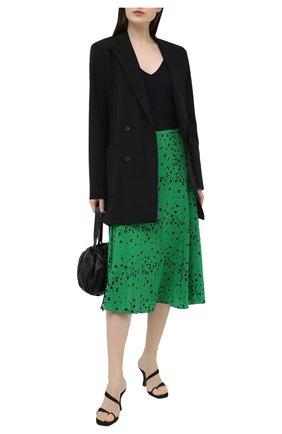 Женская шелковая юбка KENZO зеленого цвета, арт. FB52JU155521 | Фото 2 (Длина Ж (юбки, платья, шорты): Миди; Материал внешний: Шелк; Материал подклада: Синтетический материал; Стили: Романтичный; Женское Кросс-КТ: Юбка-одежда)