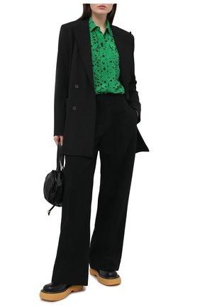 Женская шелковая рубашка KENZO зеленого цвета, арт. FB52CH030521 | Фото 2