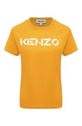 Женская хлопковая футболка KENZO желтого цвета, арт. FA62TS8414SJ | Фото 1 (Материал внешний: Хлопок; Женское Кросс-КТ: Футболка-одежда; Стили: Спорт-шик; Принт: С принтом; Рукава: Короткие; Длина (для топов): Стандартные)