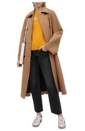 Женская хлопковая футболка KENZO желтого цвета, арт. FA62TS8414SJ | Фото 2 (Материал внешний: Хлопок; Женское Кросс-КТ: Футболка-одежда; Стили: Спорт-шик; Принт: С принтом; Рукава: Короткие; Длина (для топов): Стандартные)