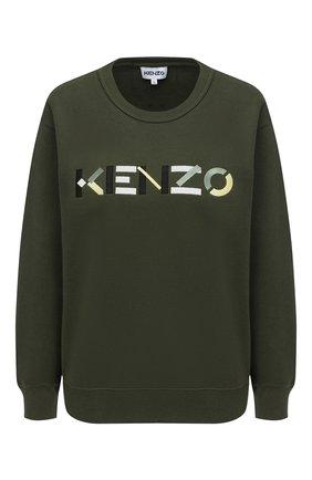 Женский хлопковый свитшот KENZO хаки цвета, арт. FA62SW8204M0 | Фото 1