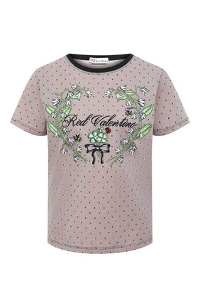 Женская хлопковая футболка REDVALENTINO светло-розового цвета, арт. VR3MG08X/5PR | Фото 1