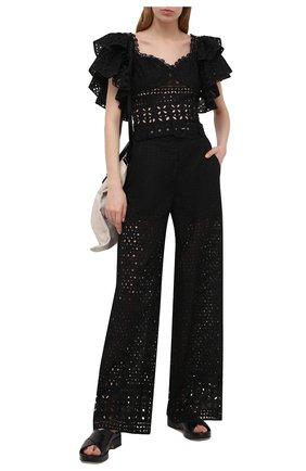 Женские хлопковые брюки CHARO RUIZ IBIZA черного цвета, арт. 213501 | Фото 2