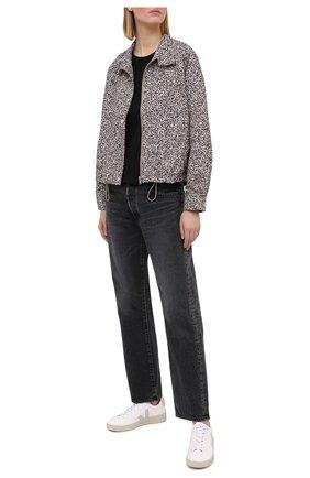Женская хлопковая футболка ELECTRIC&ROSE черного цвета, арт. LFTP22 | Фото 2