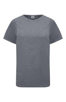 Женская хлопковая футболка TOTÊME серого цвета, арт. 211-439-770 | Фото 1
