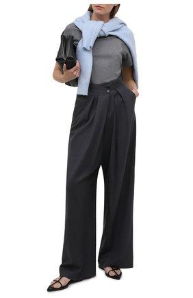 Женская хлопковая футболка TOTÊME серого цвета, арт. 211-439-770 | Фото 2