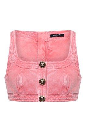 Женский джинсовый топ BALMAIN розового цвета, арт. VF10022/D090 | Фото 1