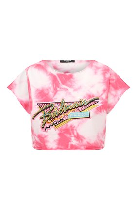 Женская хлопковая футболка BALMAIN розового цвета, арт. VF11009/B508 | Фото 1