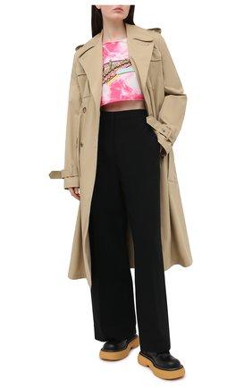 Женская хлопковая футболка BALMAIN розового цвета, арт. VF11009/B508 | Фото 2