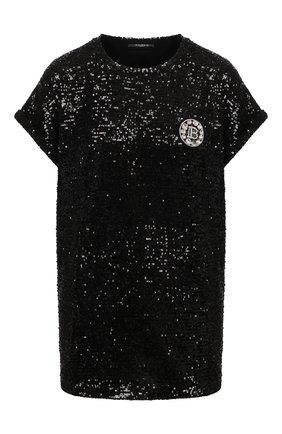 Женская футболка с пайетками BALMAIN черного цвета, арт. VF11351/X444 | Фото 1