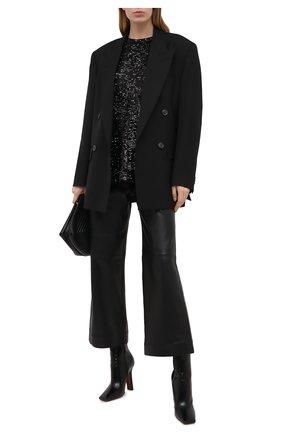 Женская футболка с пайетками BALMAIN черного цвета, арт. VF11351/X444 | Фото 2