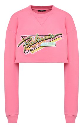 Женский хлопковый свитшот BALMAIN розового цвета, арт. VF13651/B509 | Фото 1