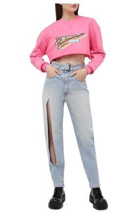 Женский хлопковый свитшот BALMAIN розового цвета, арт. VF13651/B509 | Фото 2