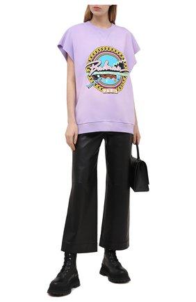 Женский хлопковый свитшот BALMAIN сиреневого цвета, арт. VF13743/B504 | Фото 2
