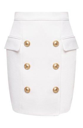 Женская хлопковая юбка BALMAIN белого цвета, арт. VF14004/C208 | Фото 1