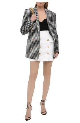 Женская хлопковая юбка BALMAIN белого цвета, арт. VF14004/C208 | Фото 2