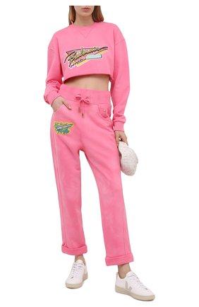 Женские хлопковые брюки BALMAIN розового цвета, арт. VF15364/J096 | Фото 2