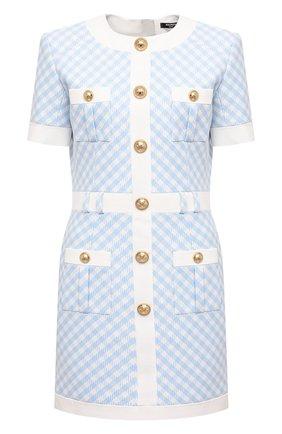 Женское платье BALMAIN голубого цвета, арт. VF16127/X447 | Фото 1