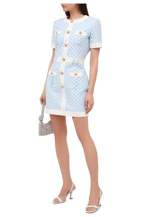 Женское платье BALMAIN голубого цвета, арт. VF16127/X447 | Фото 2