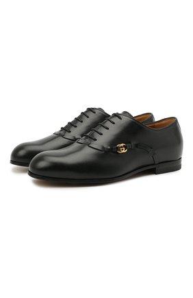 Мужские кожаные оксфорды GUCCI черного цвета, арт. 644818/D3V00 | Фото 1 (Материал внутренний: Натуральная кожа)