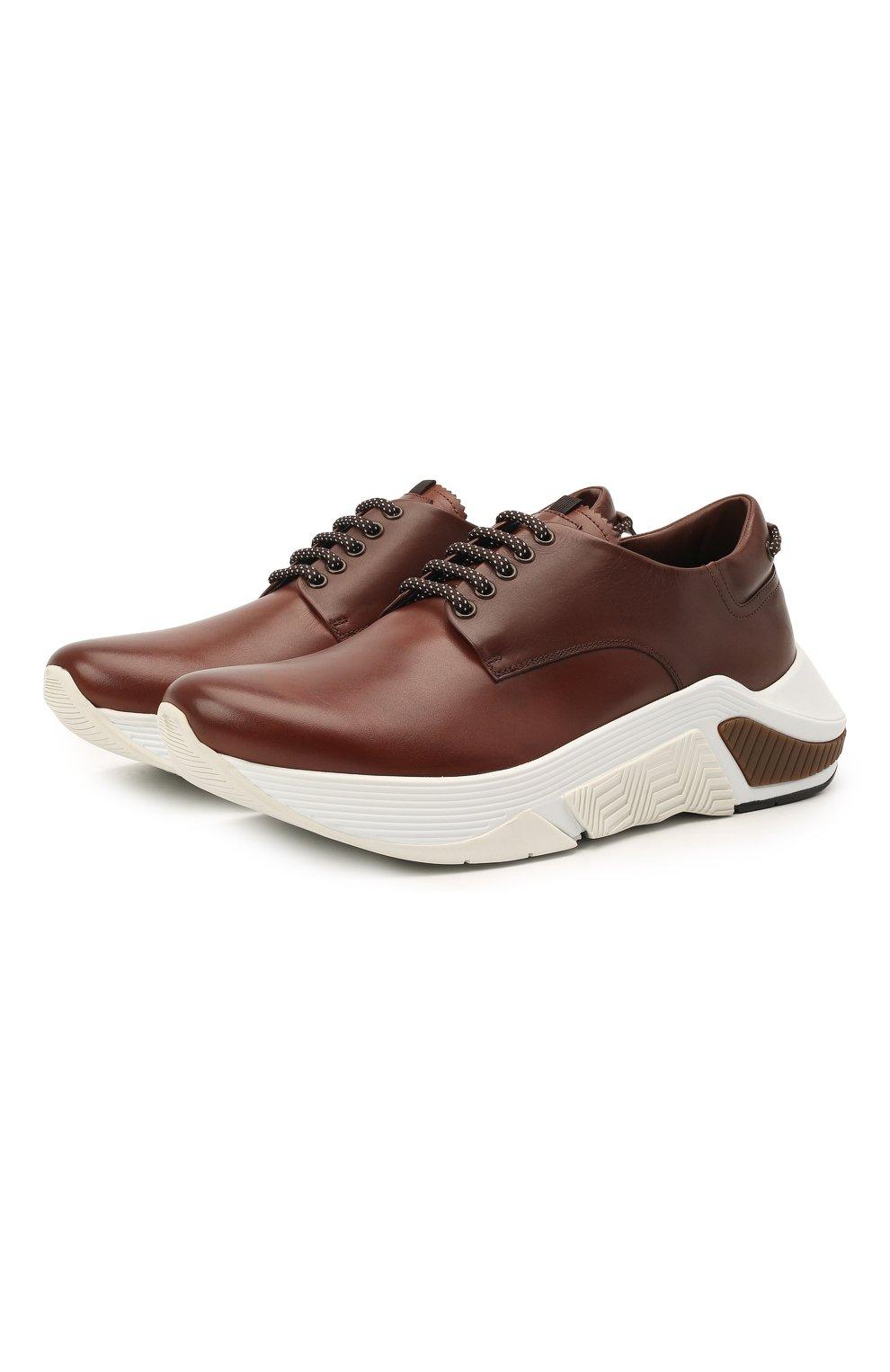 Мужские кожаные кроссовки GIORGIO ARMANI коричневого цвета, арт. X2X136/XF529 | Фото 1