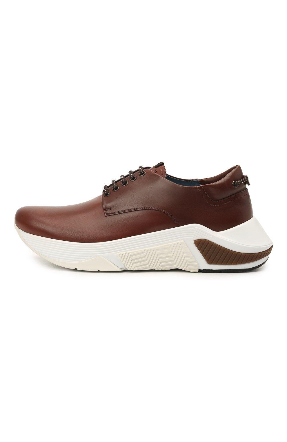 Мужские кожаные кроссовки GIORGIO ARMANI коричневого цвета, арт. X2X136/XF529 | Фото 3