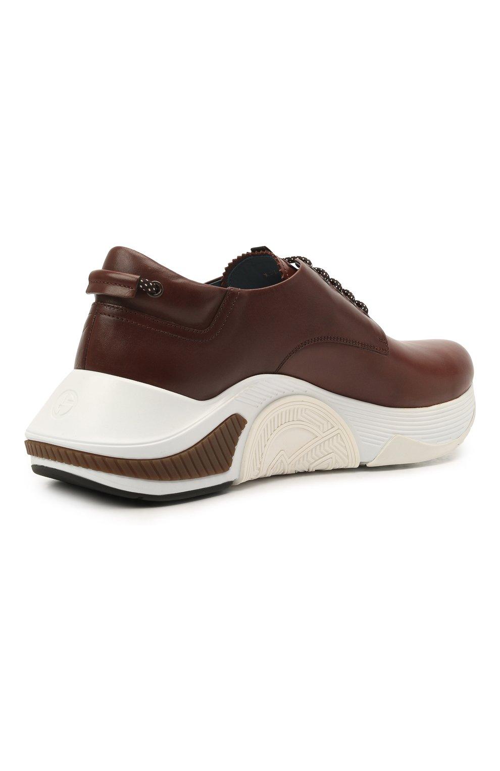 Мужские кожаные кроссовки GIORGIO ARMANI коричневого цвета, арт. X2X136/XF529 | Фото 4