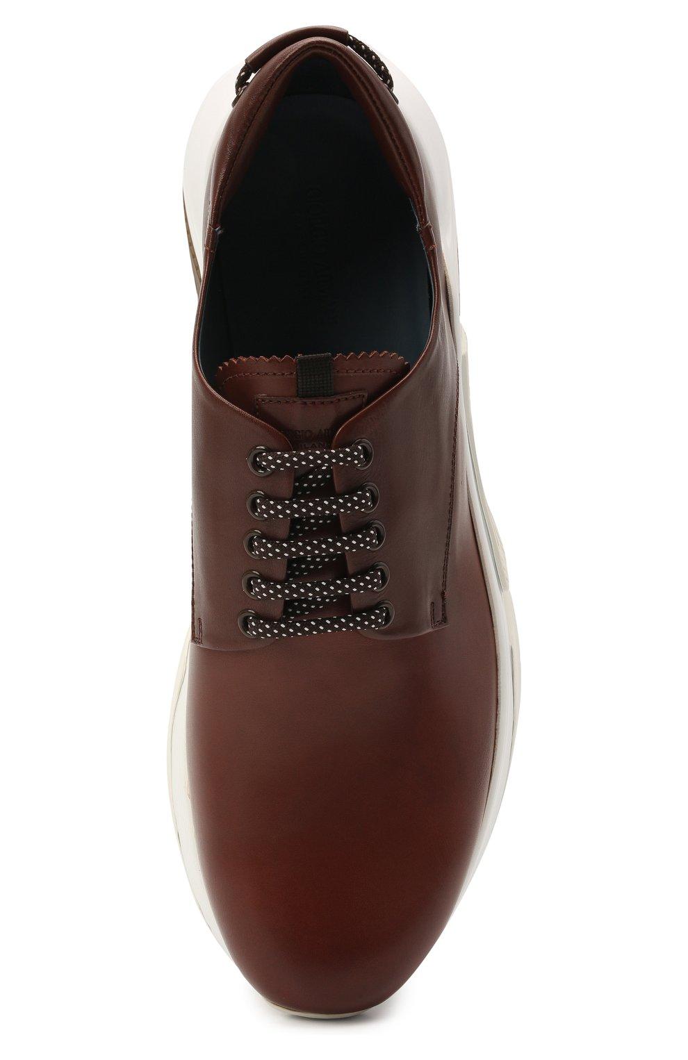 Мужские кожаные кроссовки GIORGIO ARMANI коричневого цвета, арт. X2X136/XF529 | Фото 5